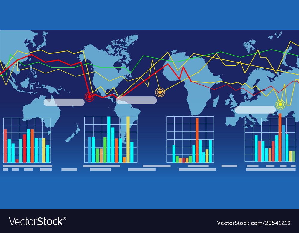 Wide world map with graphs vector image