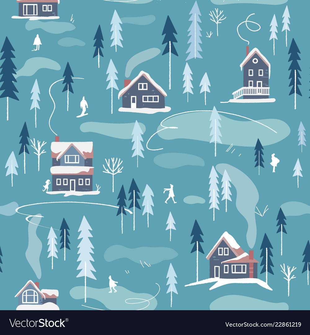 Winter snowy landscape seamless pattern