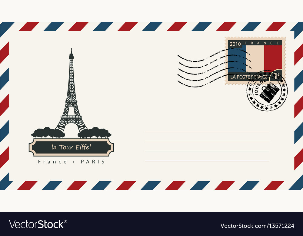 An envelope with a postage stamp with eiffel tower