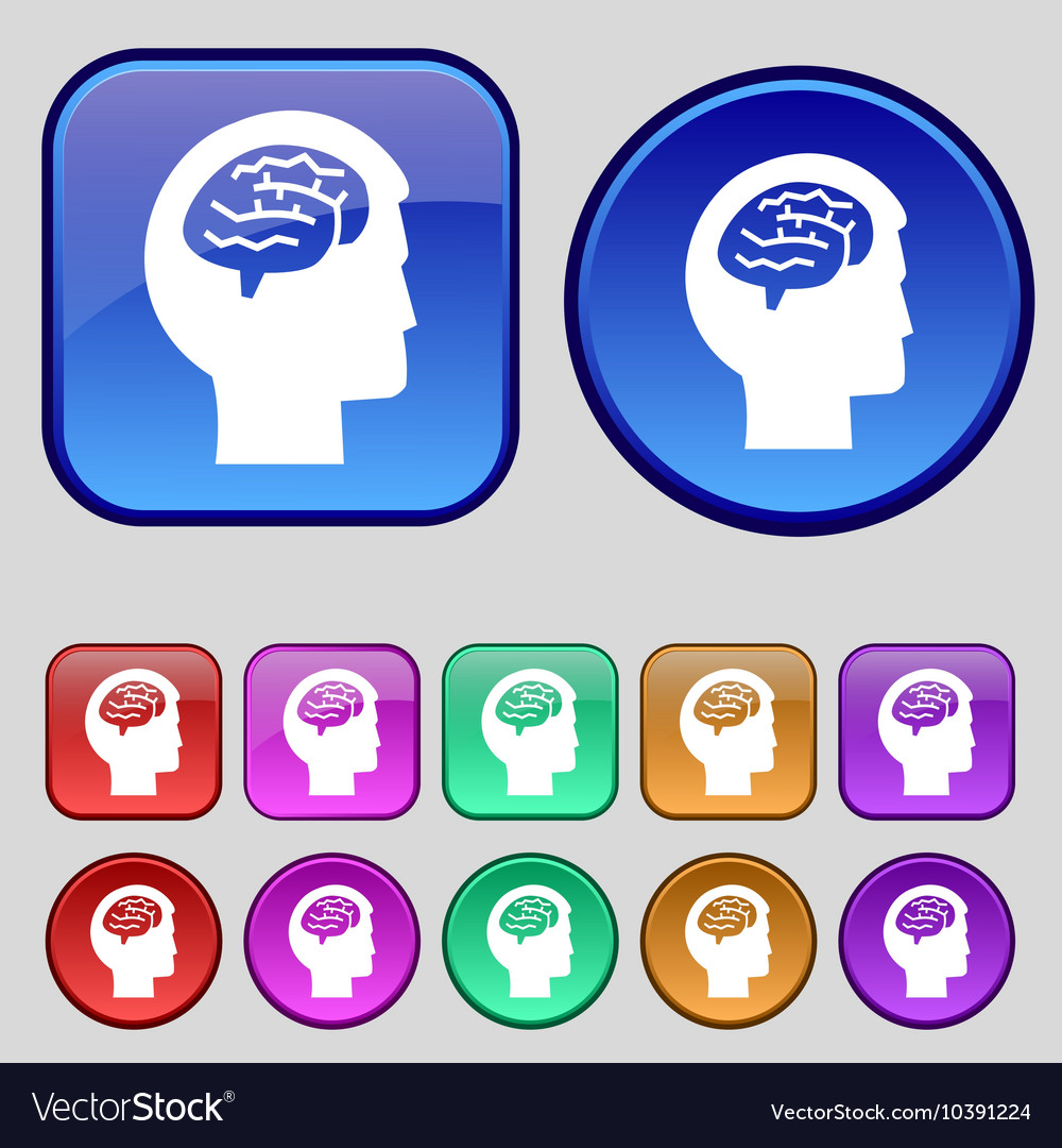 Brain icon sign A set of twelve vintage buttons vector image
