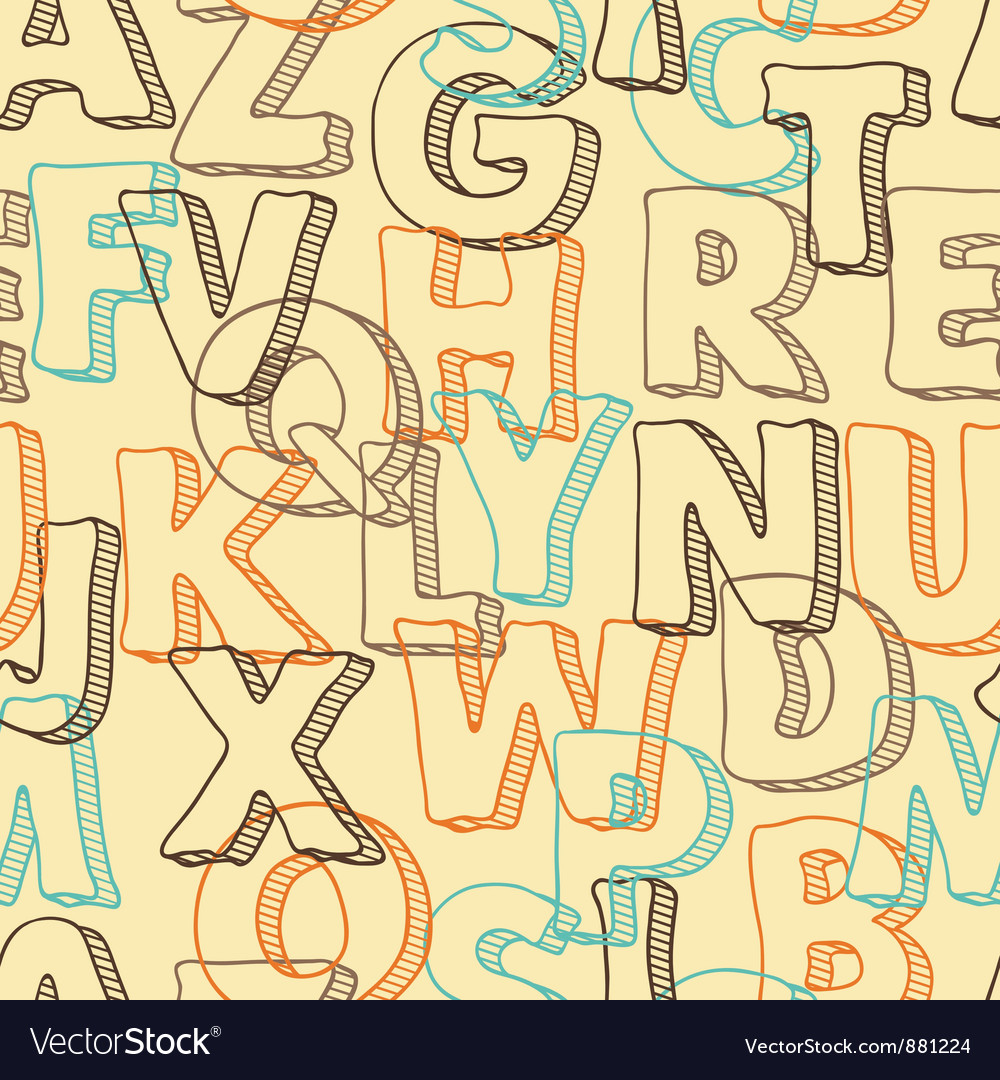 Colored seamless pattern with letters of alphabet