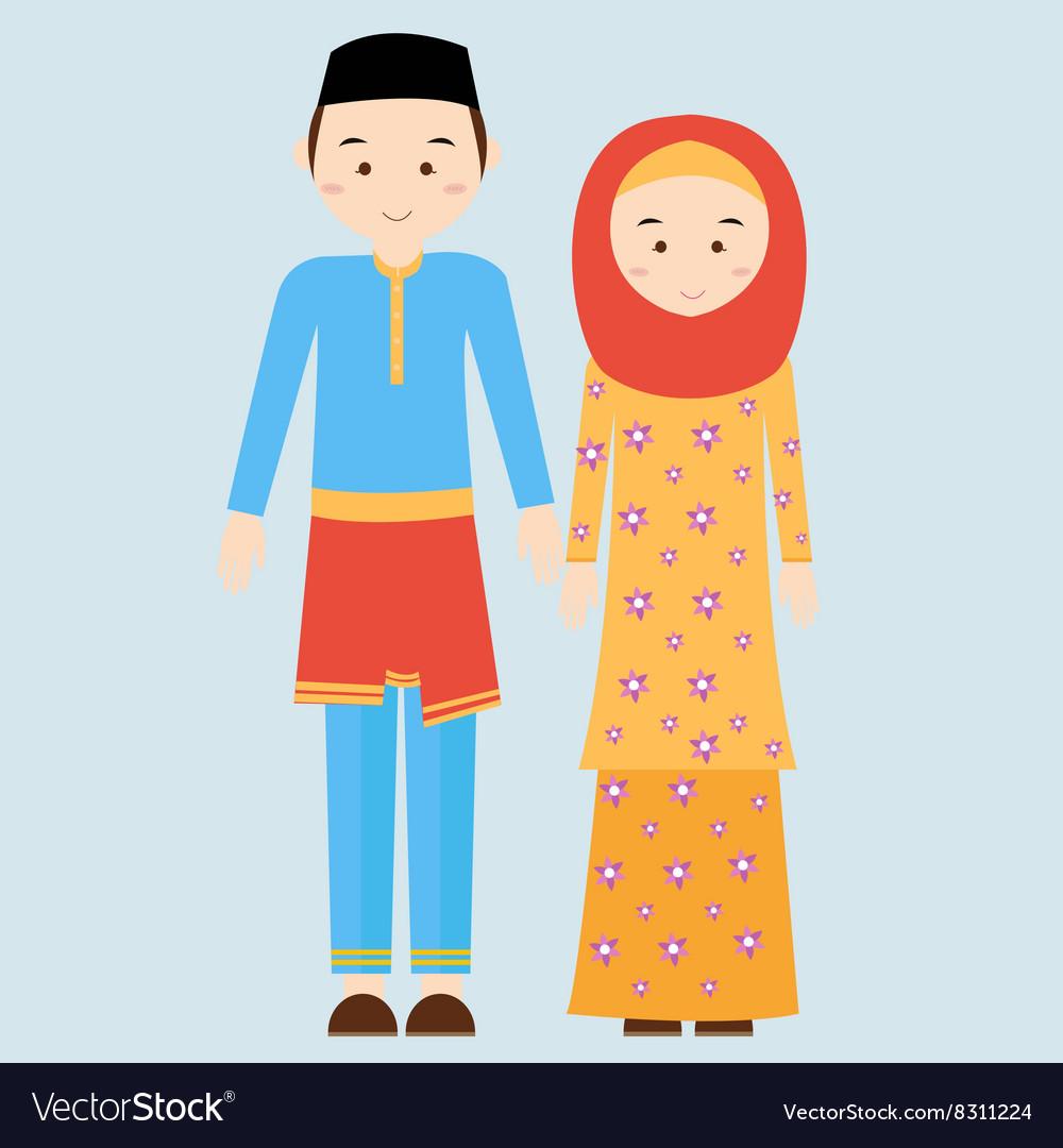 Couple man woman wearing brunei islamic