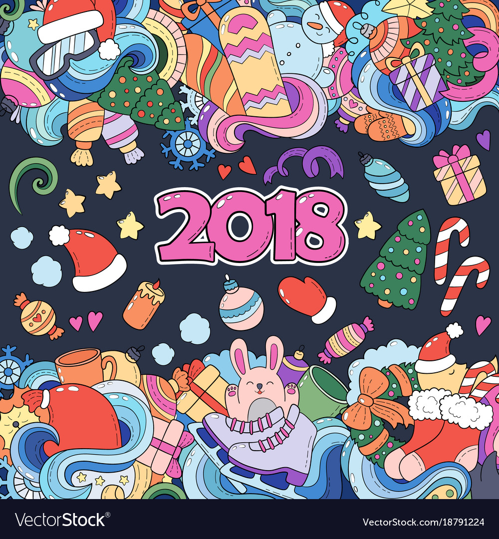 doodle cartoon christmas new year card color card vector image