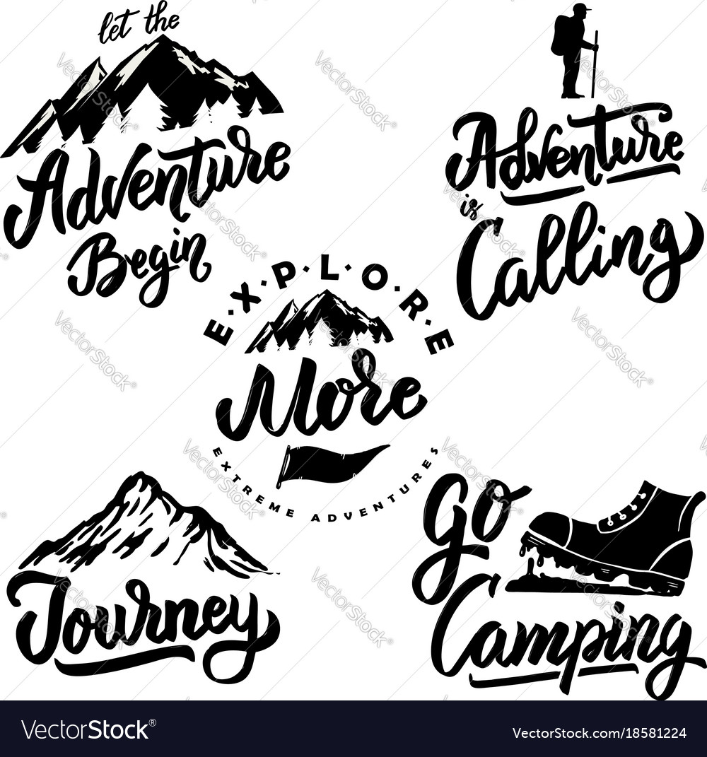 Explore and hiking hand drawn motivation