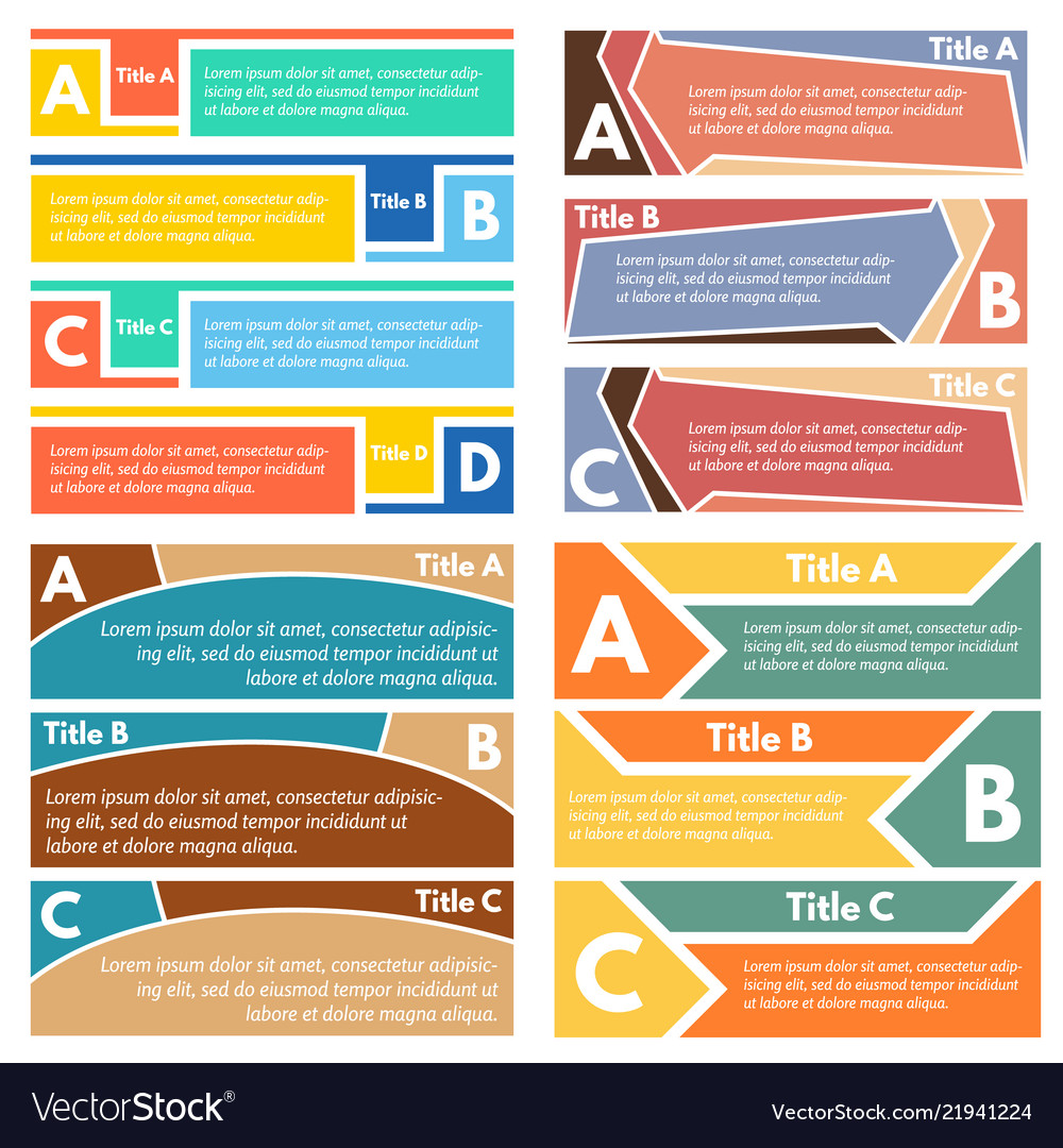 Four sets of three elements of infographic design