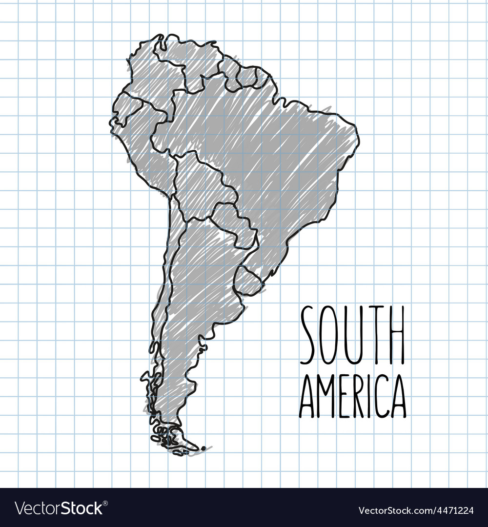 Grey pen hand drawn South America map on vector image