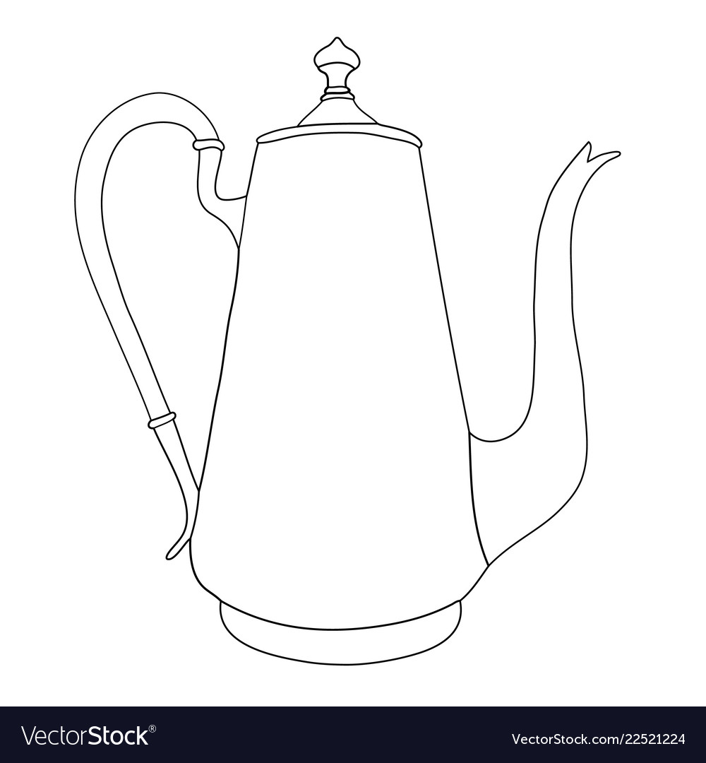 Hand drawn coffee pot on white background