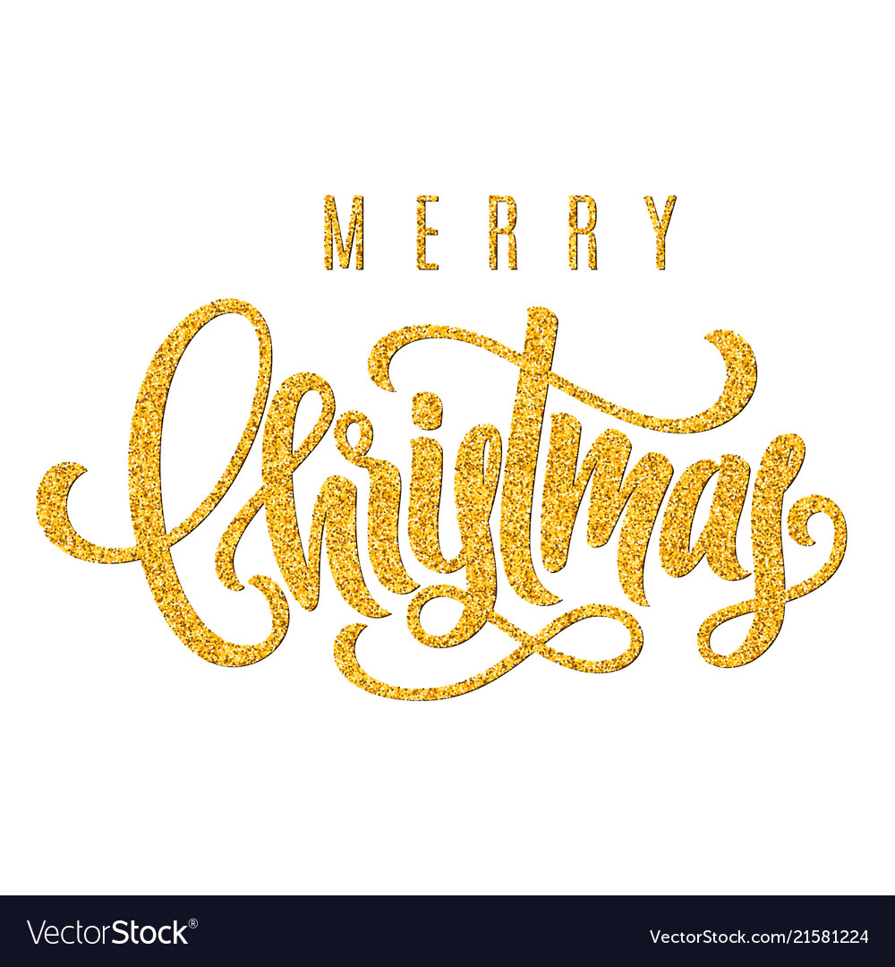 Holiday golden hand lettering merry christmas