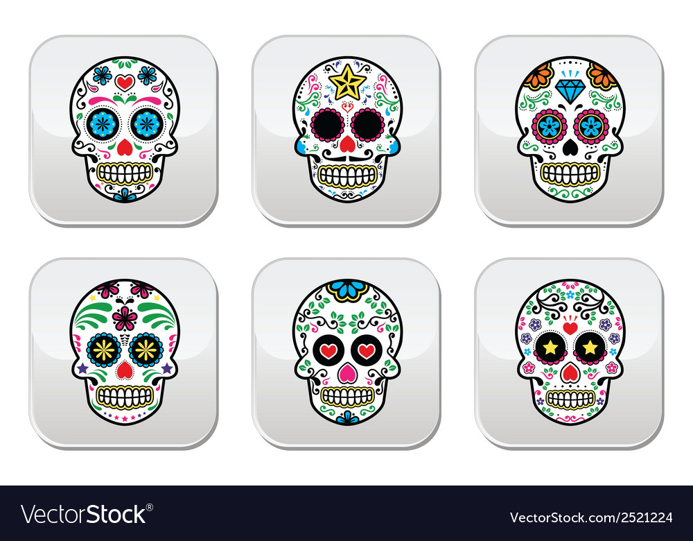 Mexican sugar skull buttons set color on black vector image