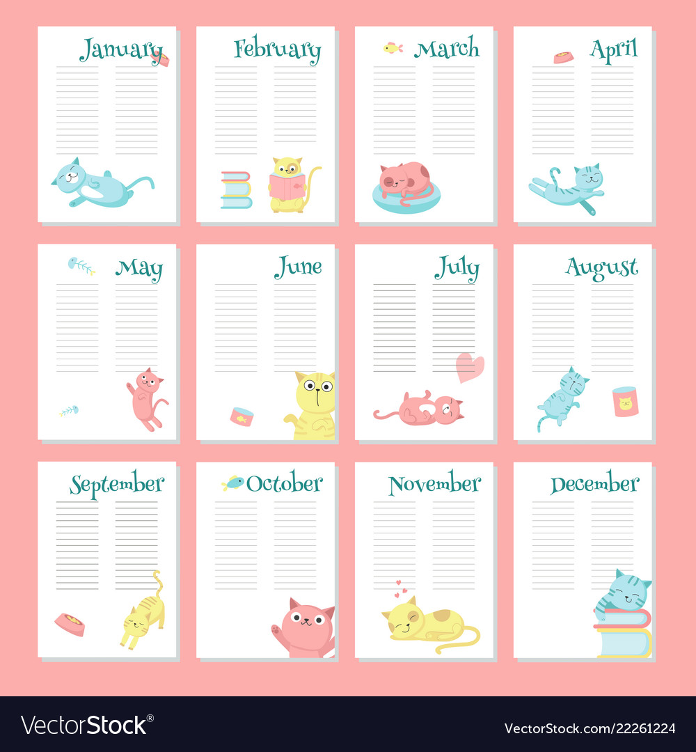 Planner Calendar Template With Cute Cats Vector Image