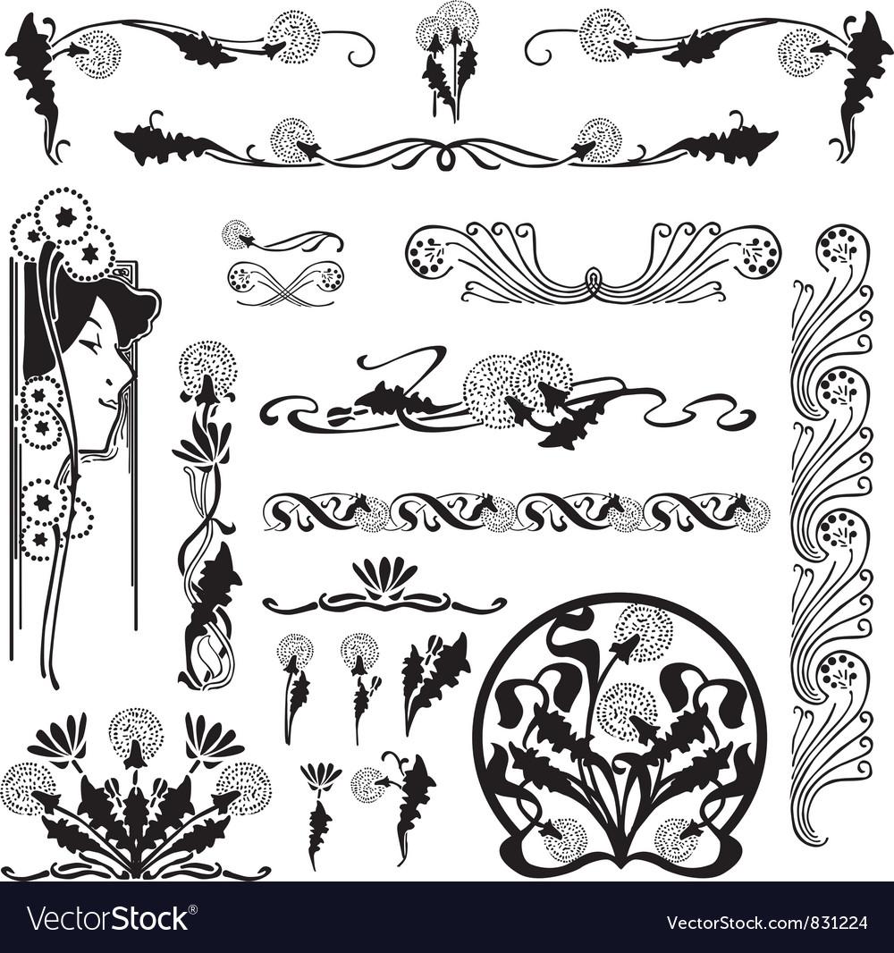 Set floral patterns