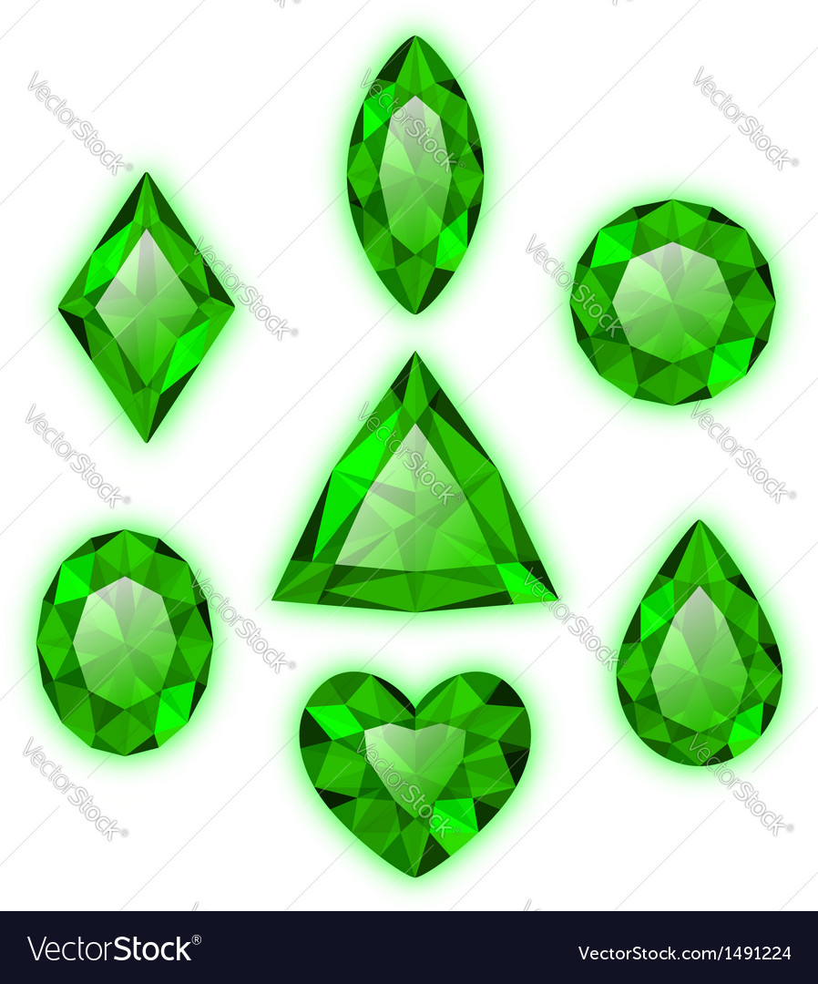 Set of green gems isolated on white