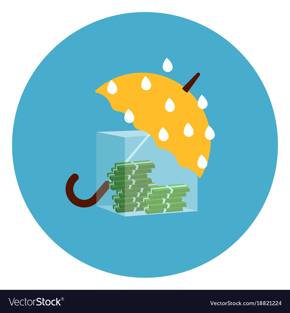 Umbrella protecting money from rain icon web