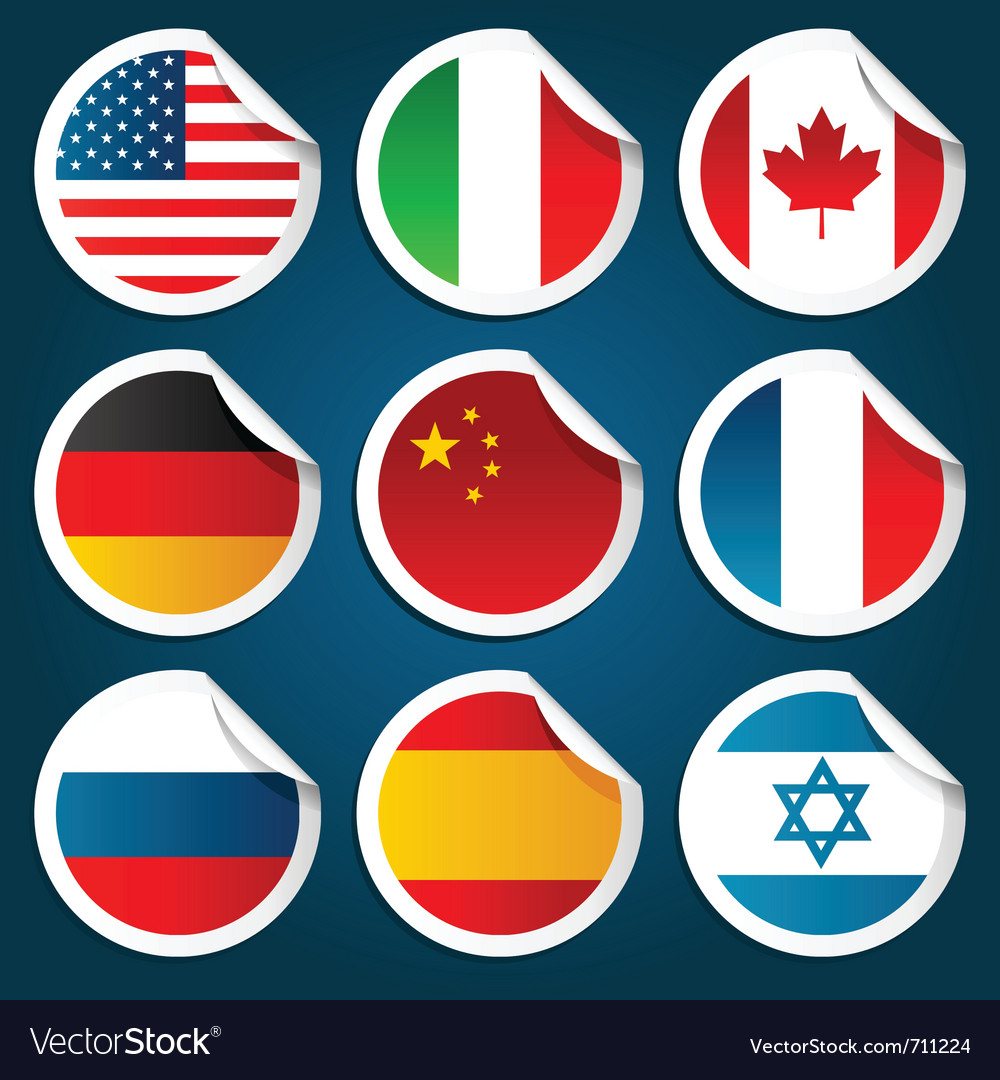World flag stickers vector image