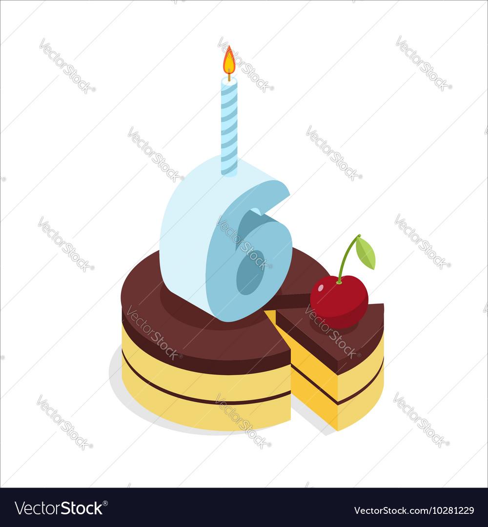 6 Years Birthday Cake Isometrics Number Six With Vector Image