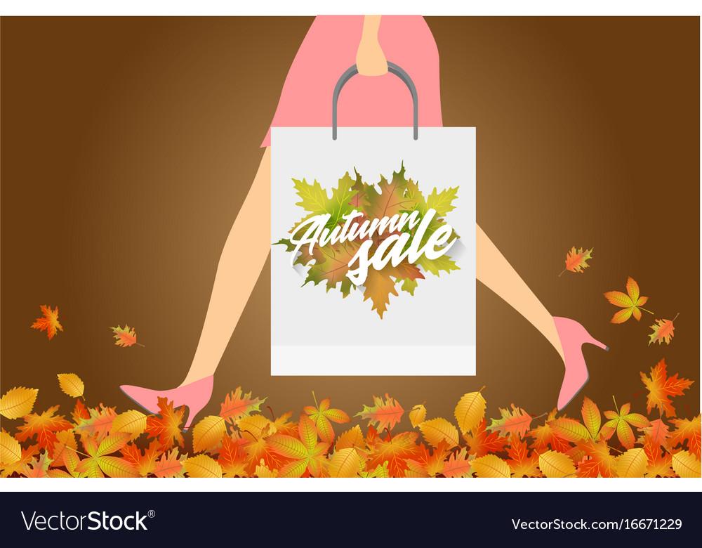 Autumn sale design concept woman with paper