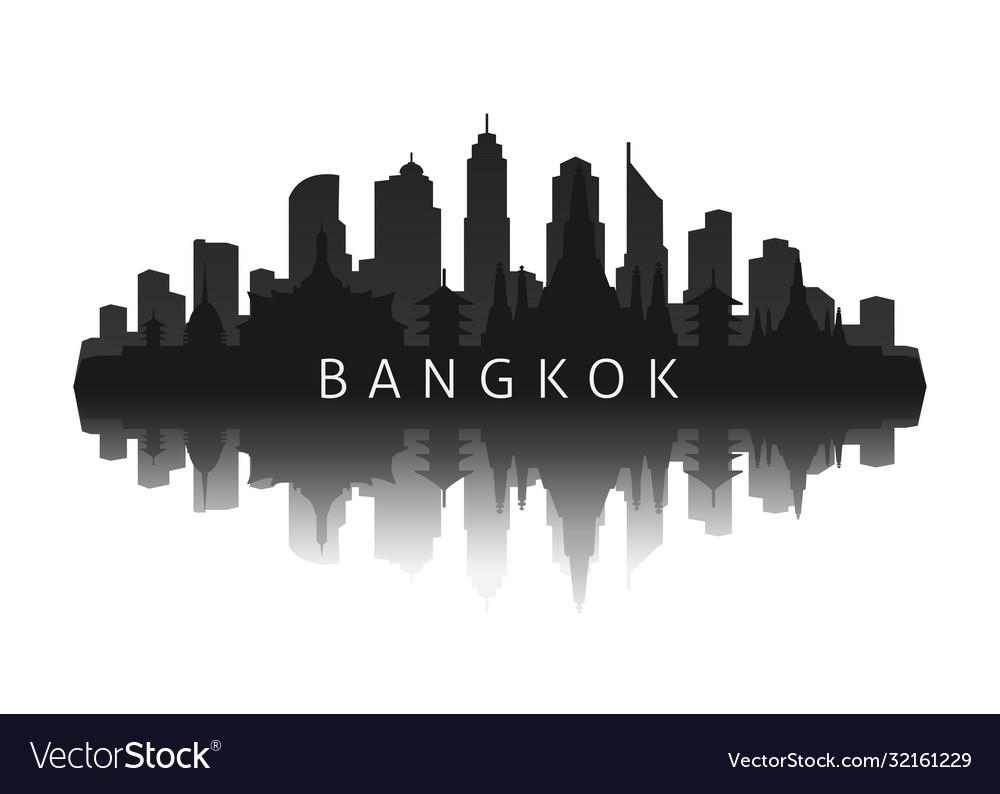 Bangkok skyline silhouette in black