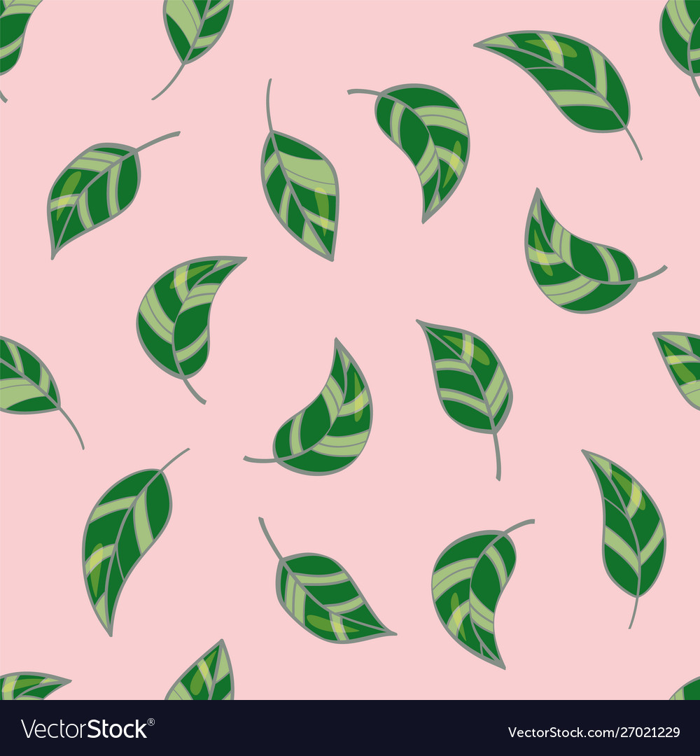 Beautiful seamless pattern with leaves on pastel