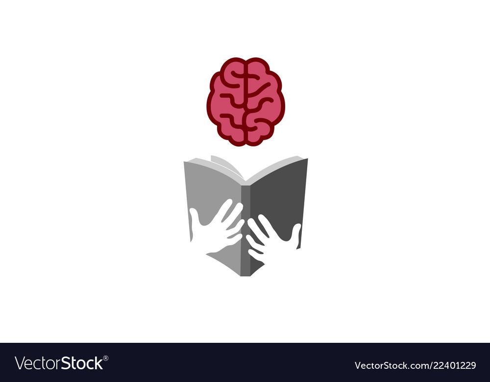 Book brain reading logo