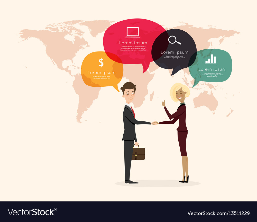 Businessman handshake with world map background