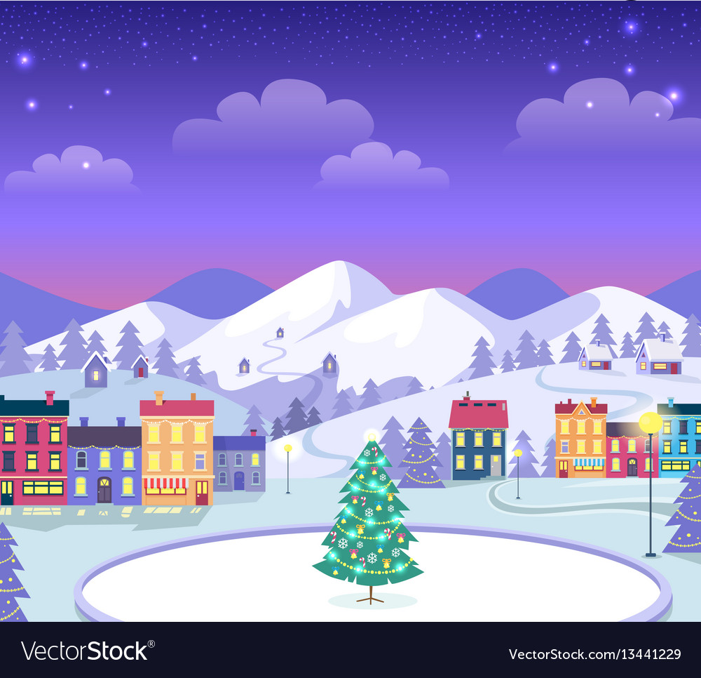 Decorated christmas town with houses and ice