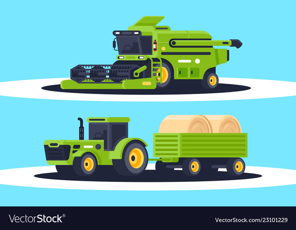 Flat agricultural machinery with stack hay