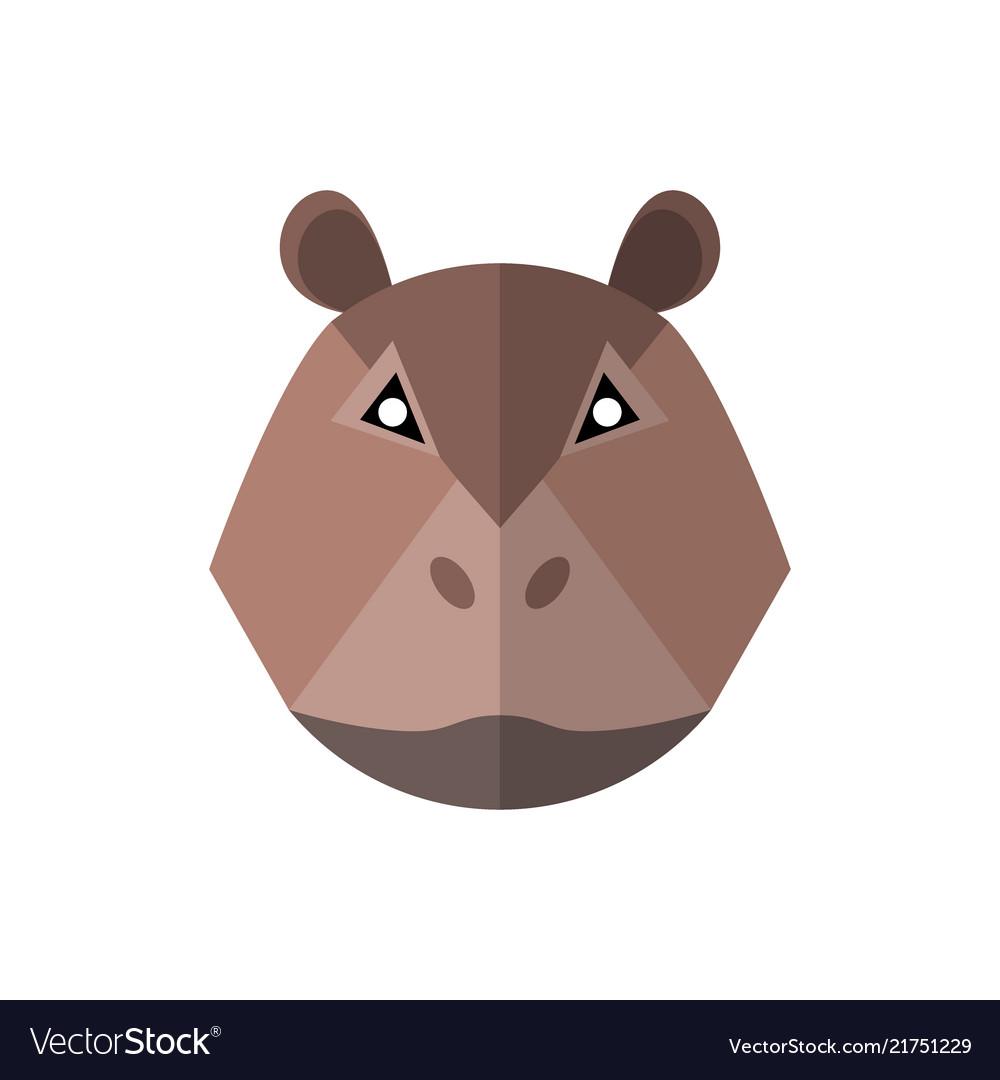 Flat style hippo icon on a white background