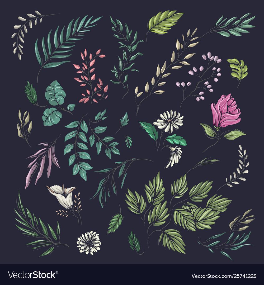 Floral and leaf summer pattern