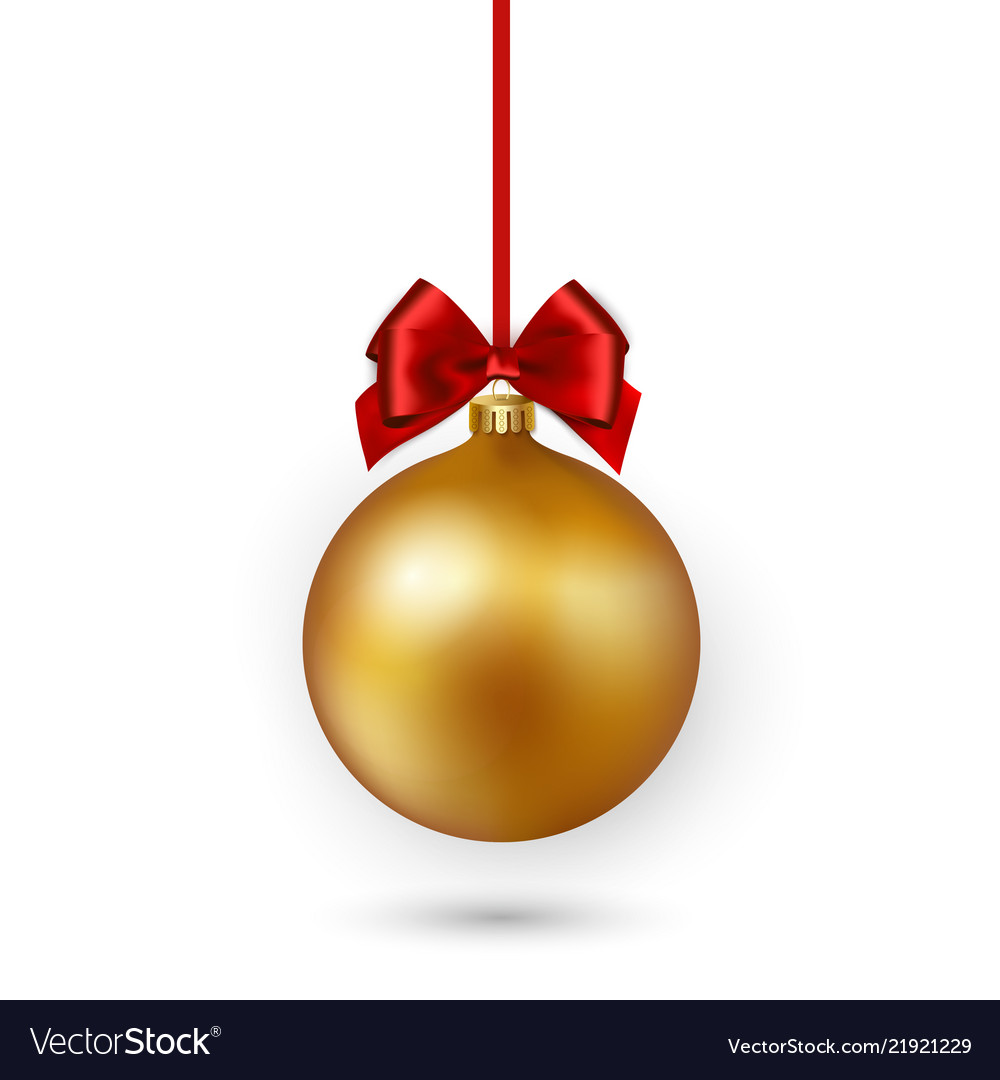 Gold christmas ball with red ribbon and bow on