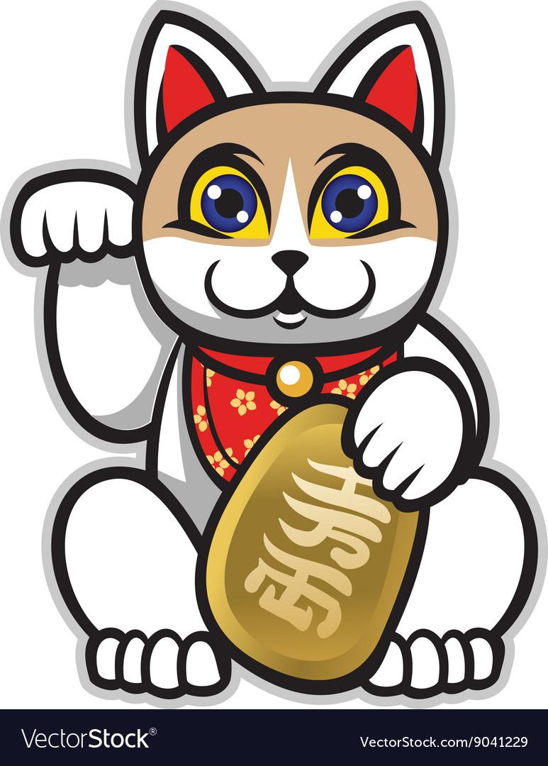 Maneki neko japanese lucky cat statue