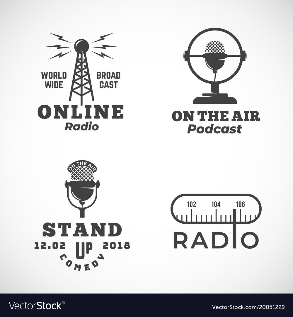 Online radio and microphone abstract vector image