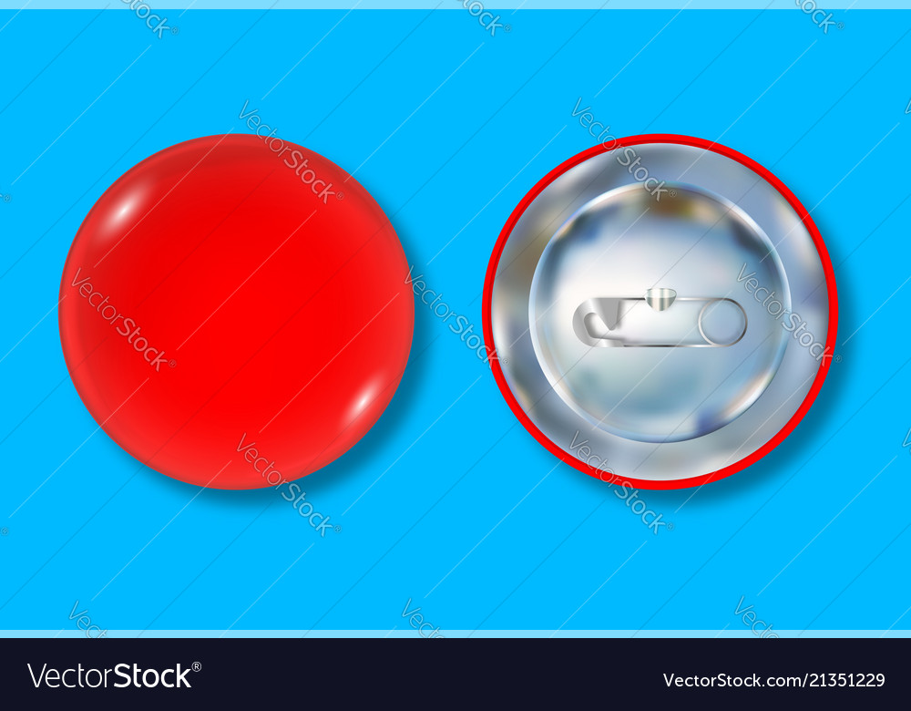 Red pin button front and back side