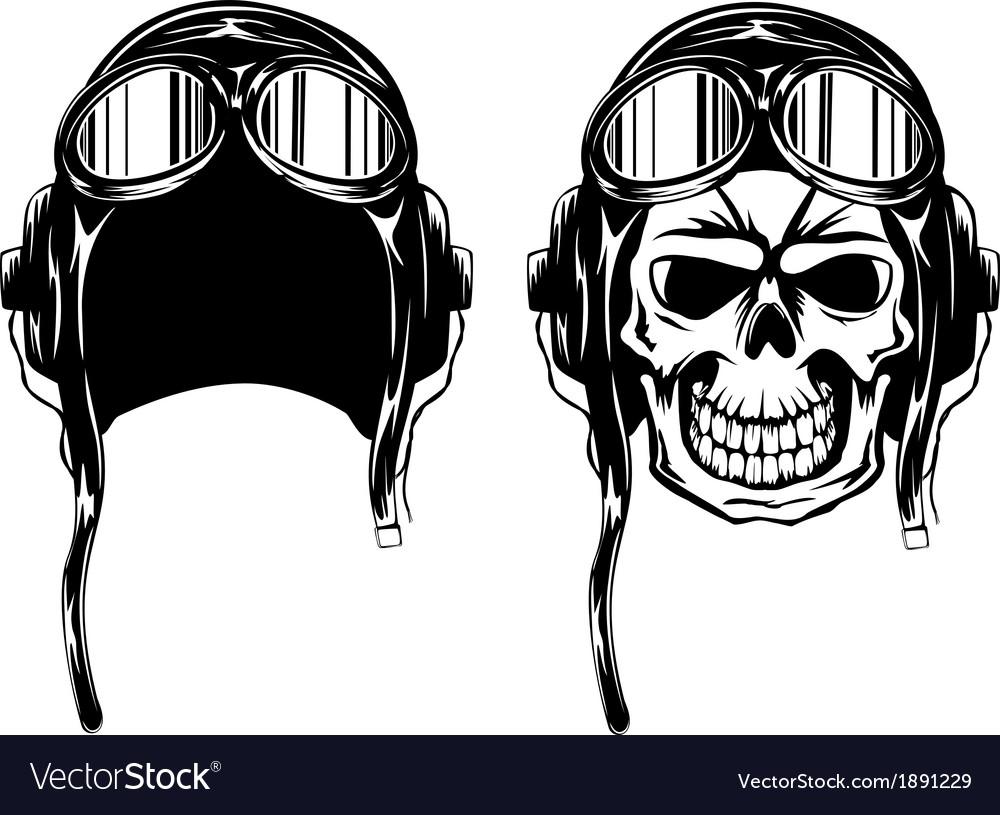Skull in pilots helmet vector image