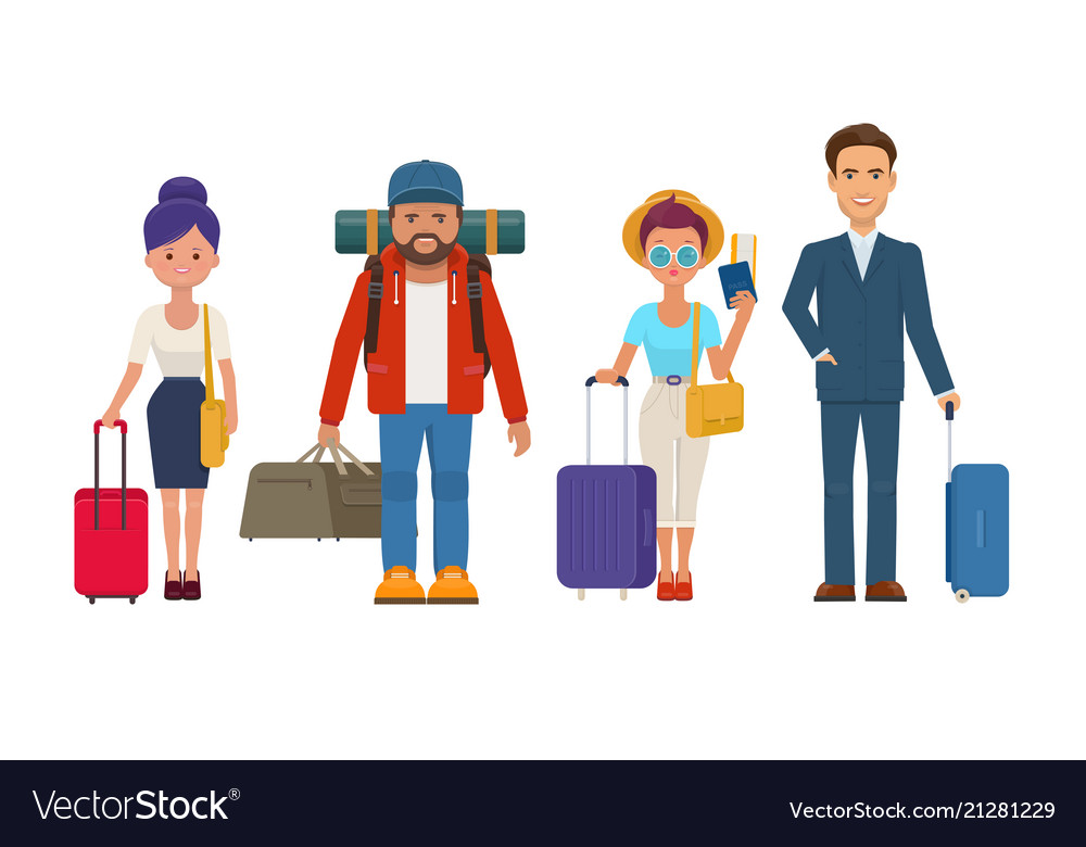 Travelers people with luggage