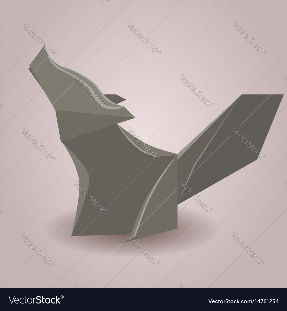 A Paper Origami Wolf Paper Zoo Element Royalty Free Vector