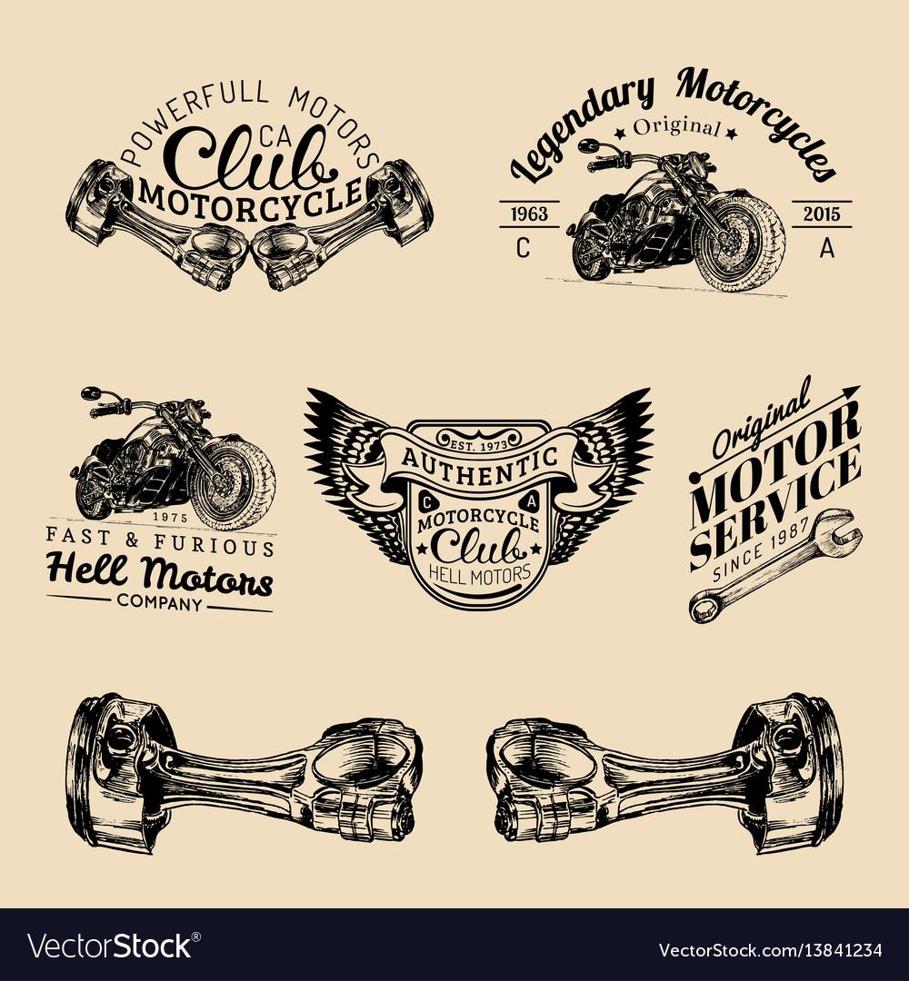 Biker club signs motorcycle repair logos