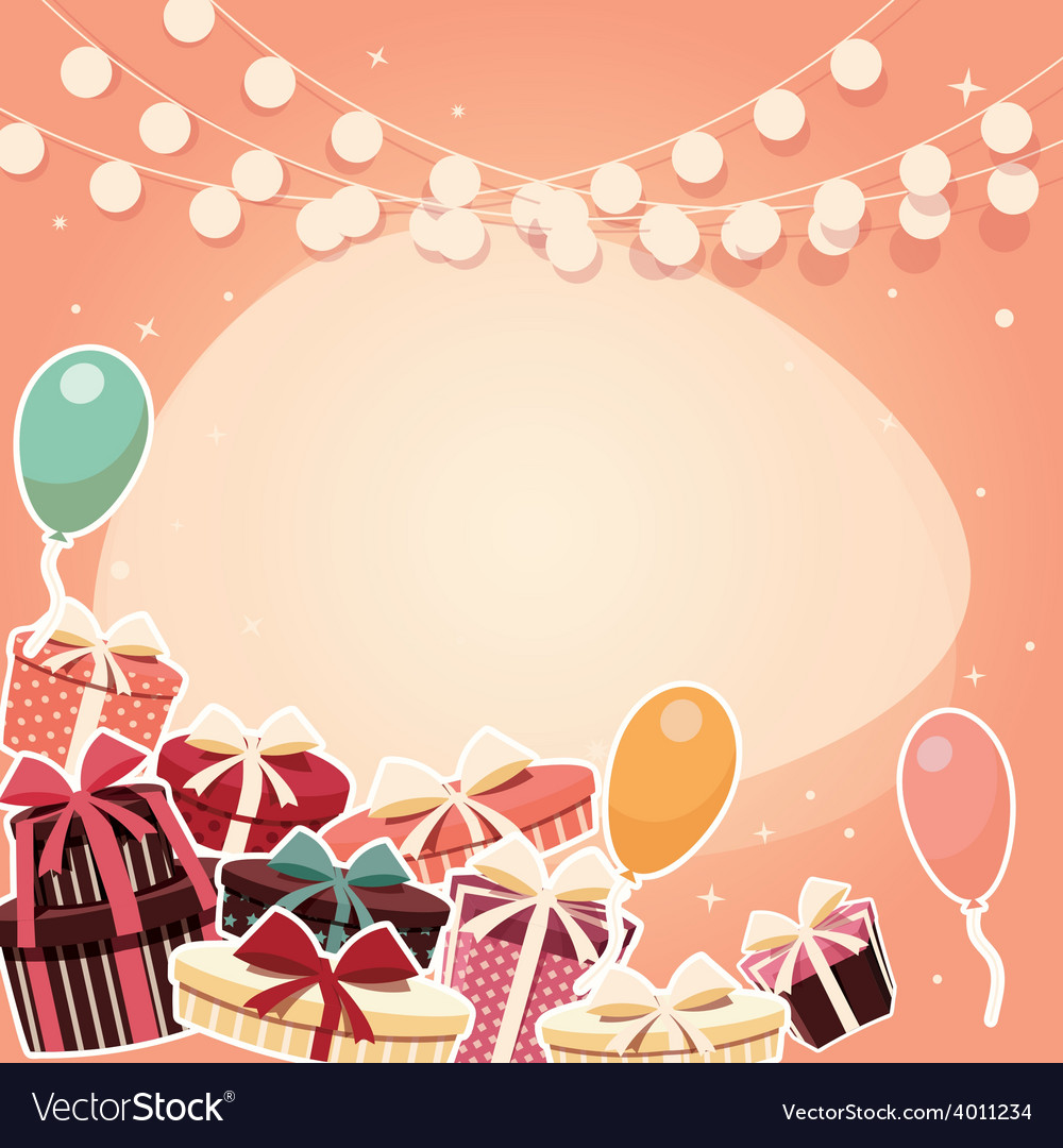 Birthday background with sticker presents balloons