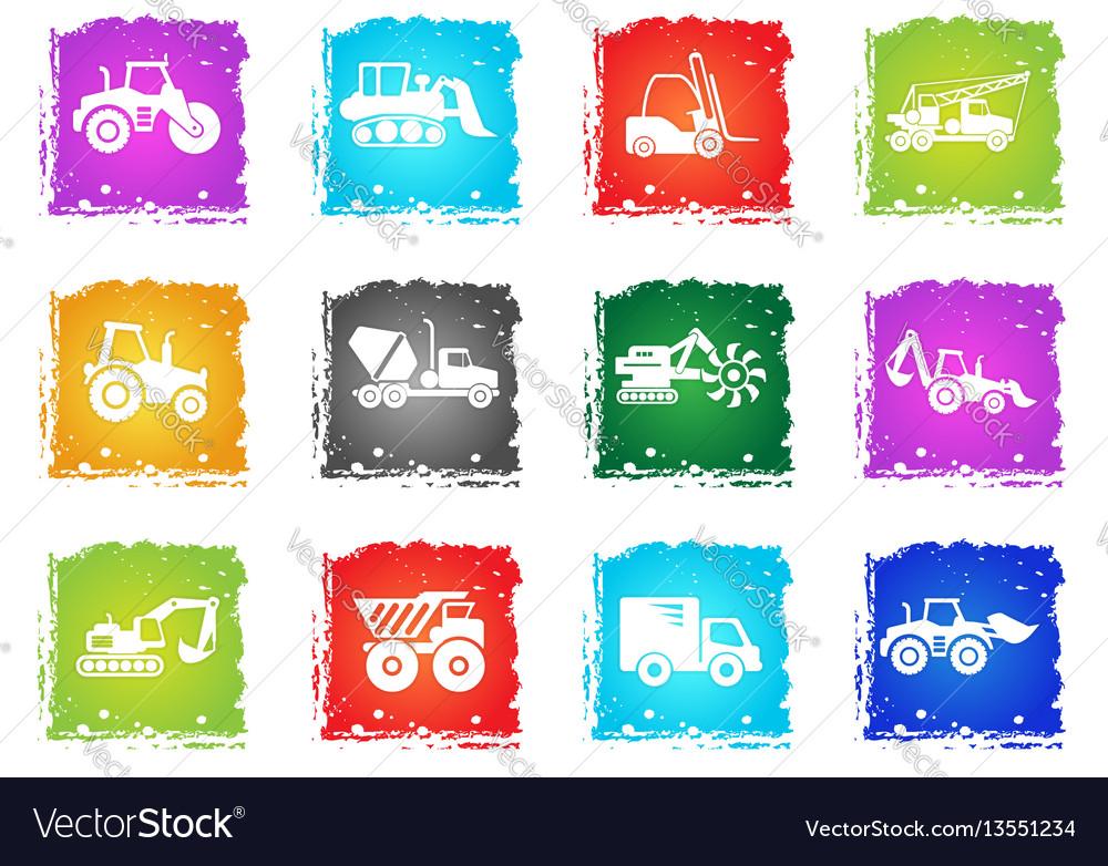 Construction machines icon set vector image