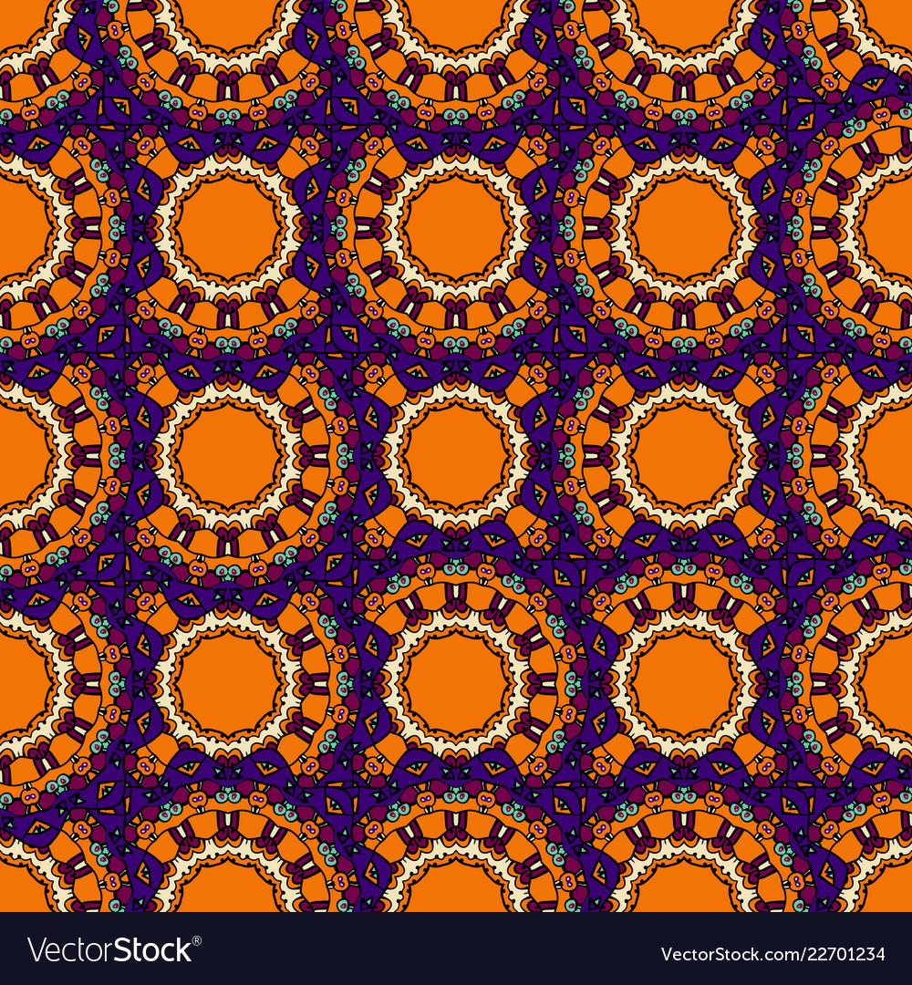 Endless Mandala In Orange Color Tribal Vintage Vector Image