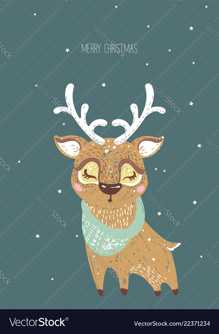 Hand drawn of deer for merry c