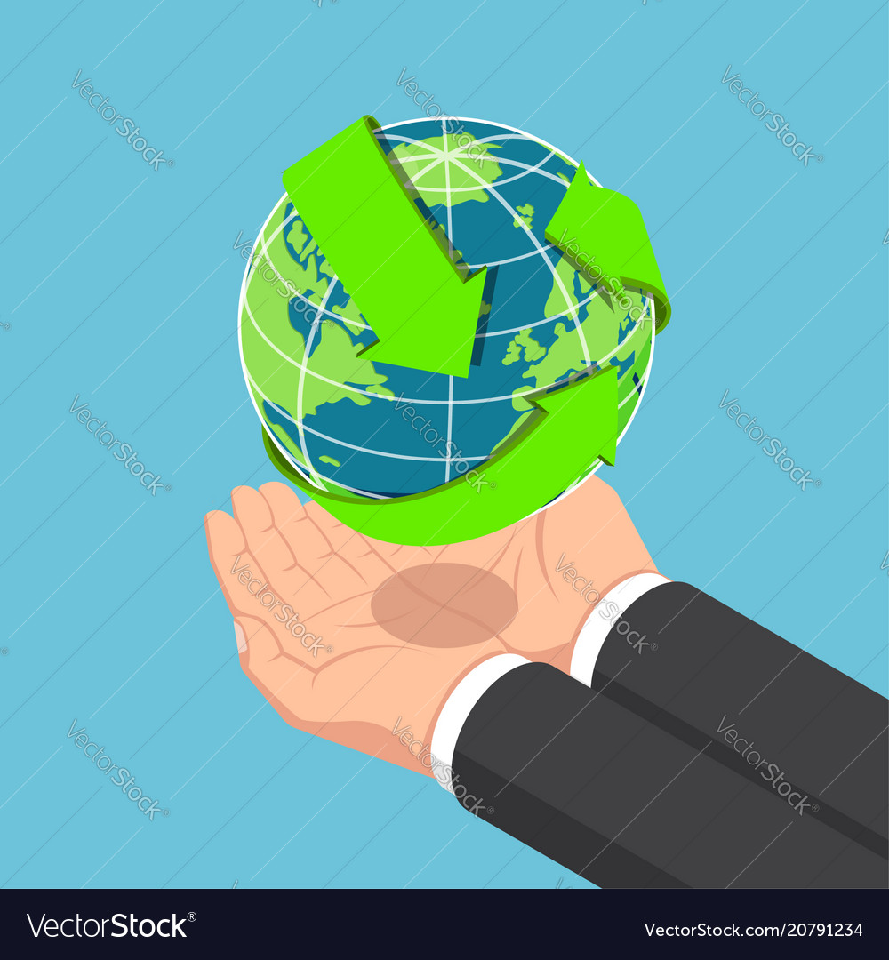 Isometric businessman hands holding the world