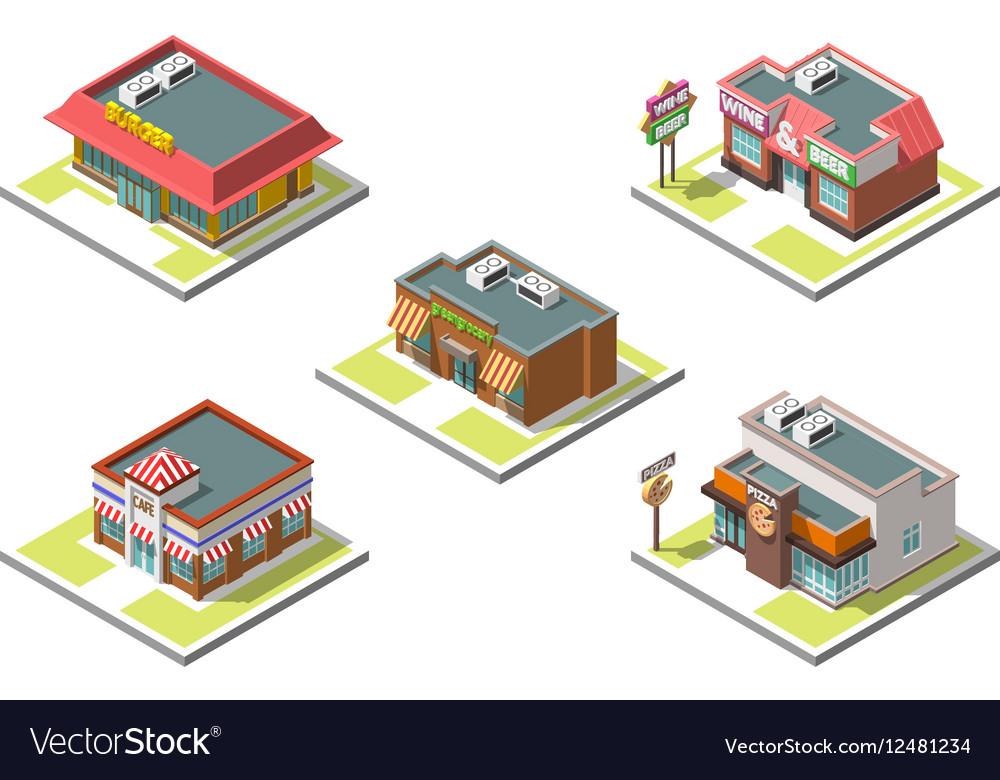 Isometric icon set infographic 3d buildings