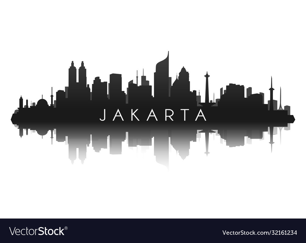 Jakarta skyline silhouette in black