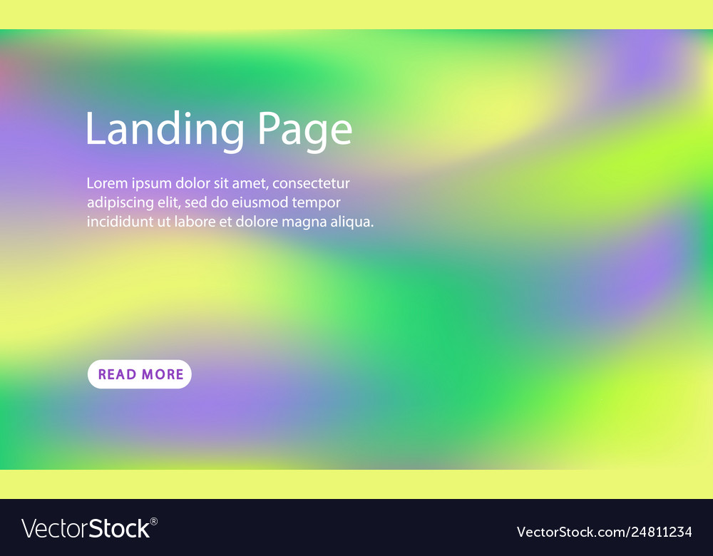 Landing page template holographic background