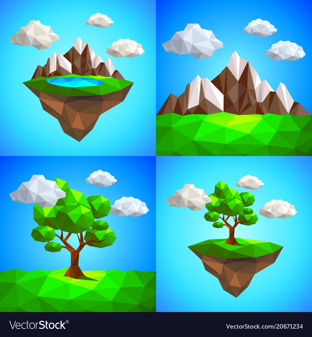 Low poly landscape with tree mountains and
