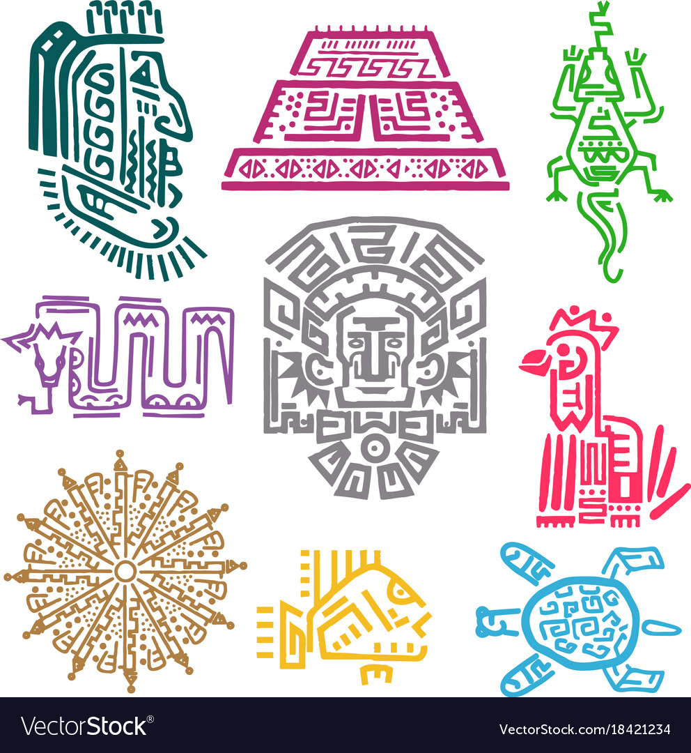 Maya And Aztec Symbols Royalty Free Vector Image