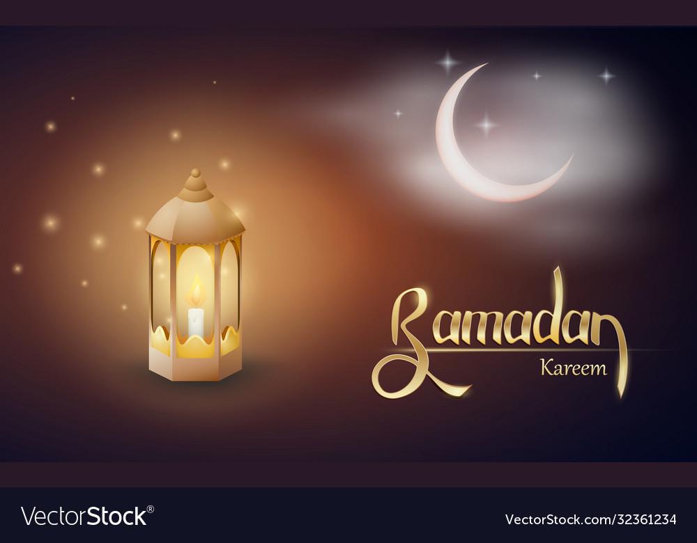 Ramadan kareem greetings with fanus in a dark