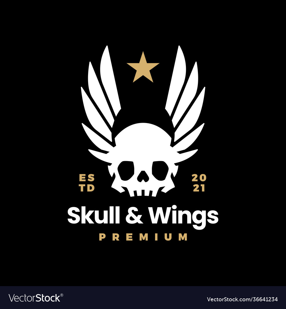 Skull and wings on black t shirt logo icon