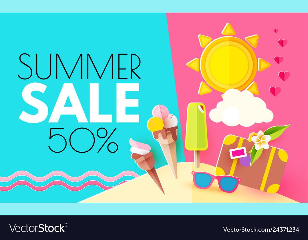 Summer sale hot vacation design template enjoy