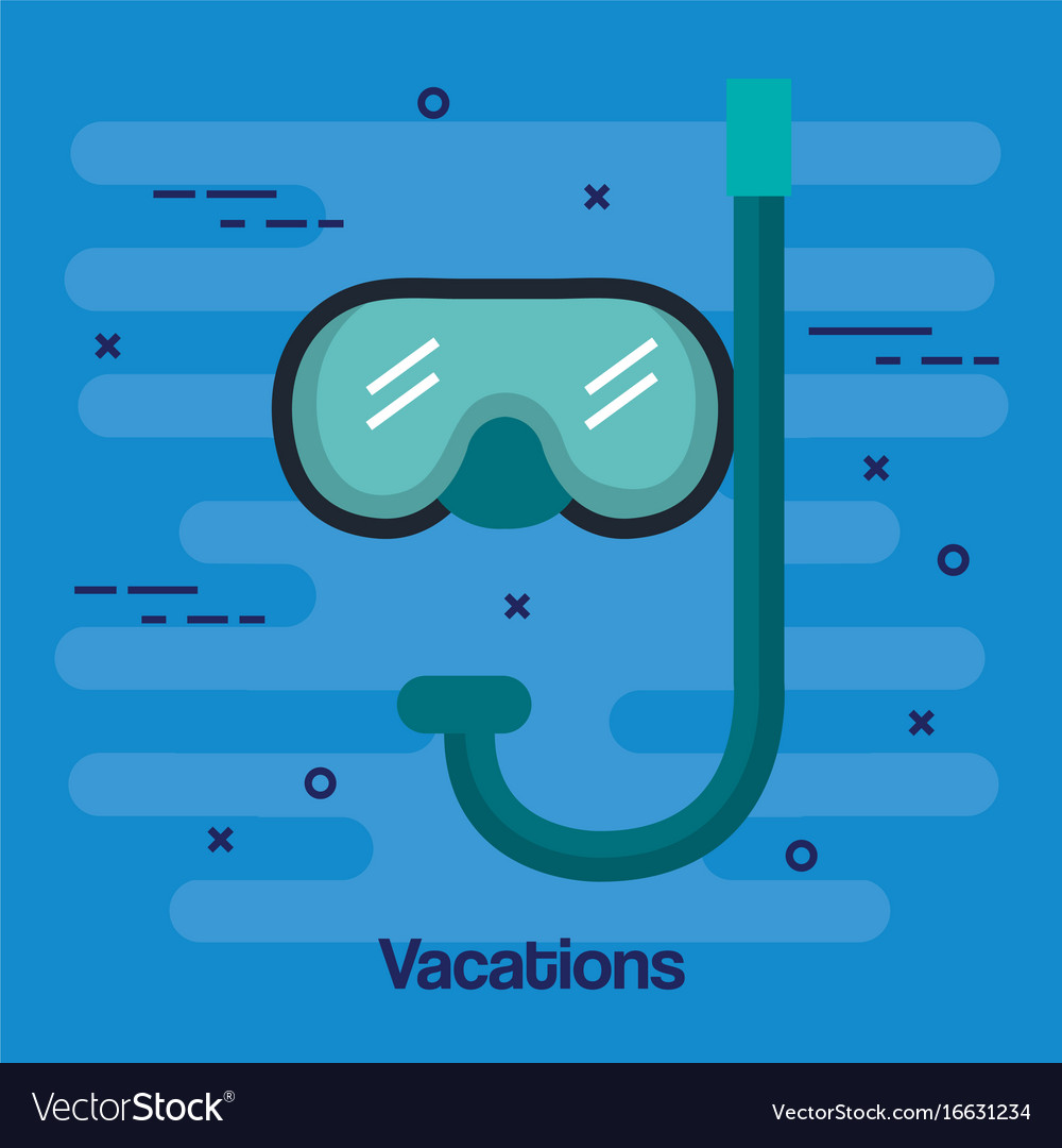 Vacations scuba mask and snorkel isolated on blue vector image